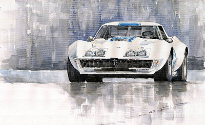 Watercolor Sports Painting - Chevrolet Corvette C3 by Yuriy  Shevchuk