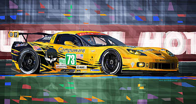 Sports Mixed Media - Chevrolet Corvette C6r Gte Pro Le Mans 24 2012 by Yuriy Shevchuk