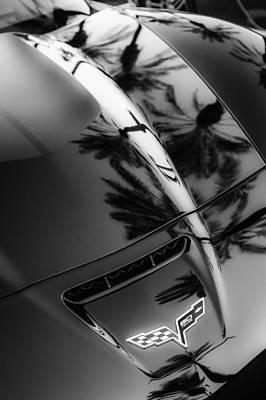 Photograph - Chevrolet Corvette Hood Emblem -0205bw by Jill Reger