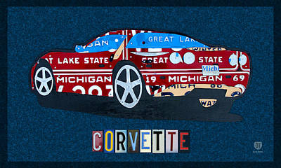 Industrial Mixed Media - Chevrolet Corvette Recycled Michigan License Plate Art by Design Turnpike