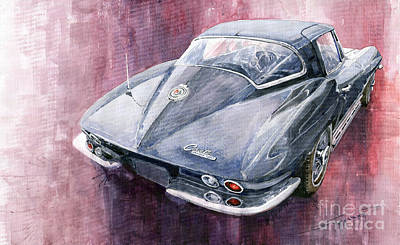 Cars Wall Art - Painting - Chevrolet Corvette Sting Ray 1965 by Yuriy Shevchuk