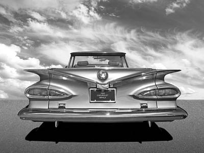 Photograph - Chevrolet Impala 1959 In Black And White by Gill Billington