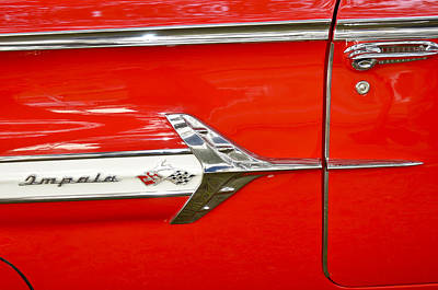 Chevrolet Impala Classic In Red Art Print by Carolyn Marshall