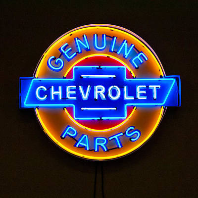 Neon Sign Photograph - Chevrolet Neon Sign by Jill Reger
