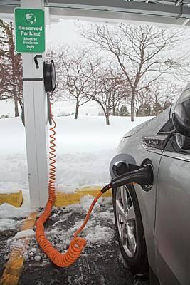 Chevrolet Volt Electric Car Charging Art Print by Jim West