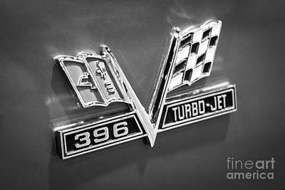 Chevy 396 Turbo-jet Emblem Black And White Picture Art Print by Paul Velgos