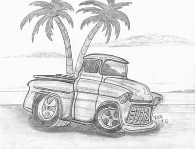 Chevy Drawing - Chevy Beach by Ray Ratzlaff