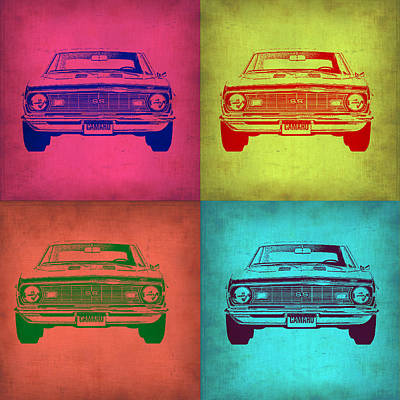 Old Cars Painting - Chevy Camaro Pop Art 1 by Naxart Studio