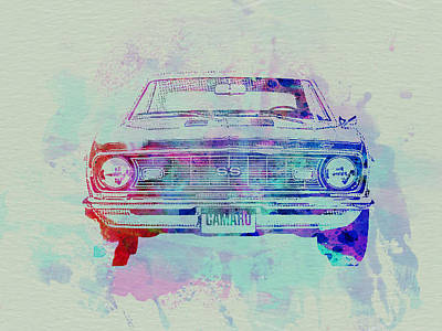 Racetrack Painting - Chevy Camaro Watercolor 2 by Naxart Studio