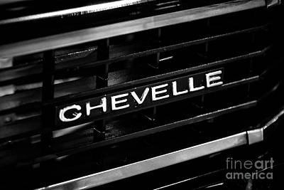 Chevy Chevelle Grill Emblem Black And White Picture Art Print