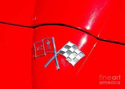 Photograph - Chevy Corvette Flag Badge by Mark Spearman