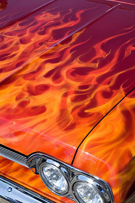 Photograph - Chevy Flames by Peter Tellone