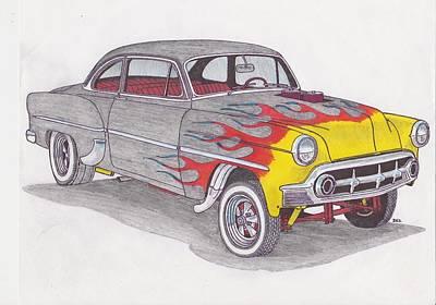 Street Rod Drawing - Chevy Gasser by Darrell Leonard