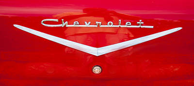 Red Chevrolet Photograph - Chevy Logo 1957 by Rich Franco