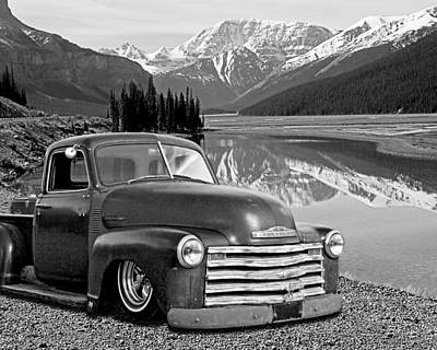 Chevy Pickup In The Rockies In Black And White Art Print by Gill Billington