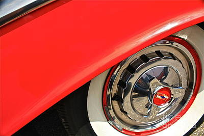 Red Chev Photograph - 1955 Chevy Rim by Linda Bianic