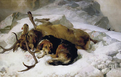 Stags Painting - Chevy by Sir Edwin Landseer