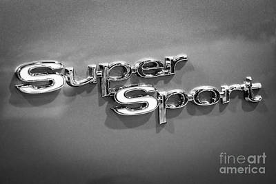Chevy Super Sport Emblem Black And White Picture Art Print by Paul Velgos
