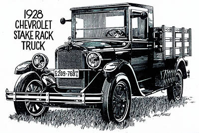 Chevrolet Truck Drawing - Chevy Truck by Dale Michels