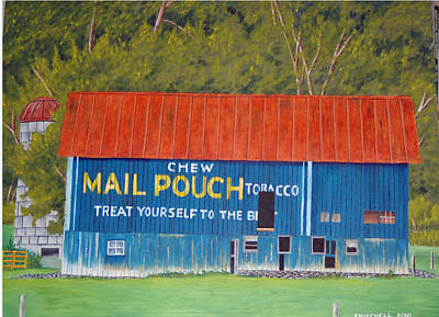 Mail Pouch Barn Painting - Chew Mail Pouch by Ellen Mitchell