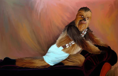 Chewbacca Painting - Chewbacca And The Timeless Art Of Seduction by Joseph McNew