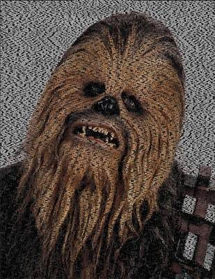 Chewbacca Painting - Chewbacca Star Wars Terms Text Mosaic by Paul Van Scott
