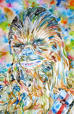 Aliens Painting - Chewbacca Watercolor Portrait by Fabrizio Cassetta