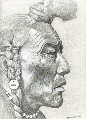 Native American Spirit Portrait Drawing - Cheyenne Medicine Man by Bern Miller