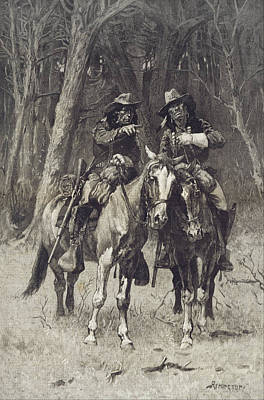 Oklahoma Drawing - Cheyenne Scouts Patrolling The Big Timber Of The North Canadian Oklahoma by Frederic Remington