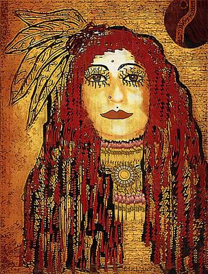 Brave Mixed Media - Cheyenne Woman Warrior by Pepita Selles