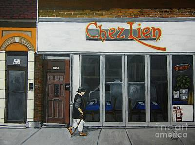 Montreal Street Life Painting - Chez Lien Wellington Street Verdun by Reb Frost