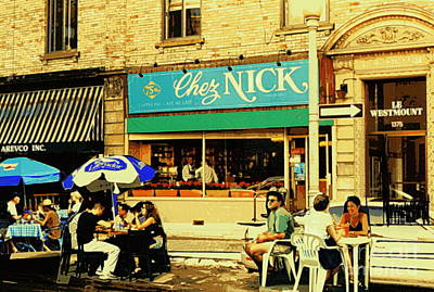 Montreal Storefronts Painting - Chez Nick On Greene Avenue Montreal In Summer Cafe Art Westmount Terrace Bistros And Umbrellas by Carole Spandau