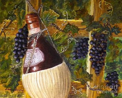 Italian Wine Painting - Chianti And Grapes by Donna Vesely