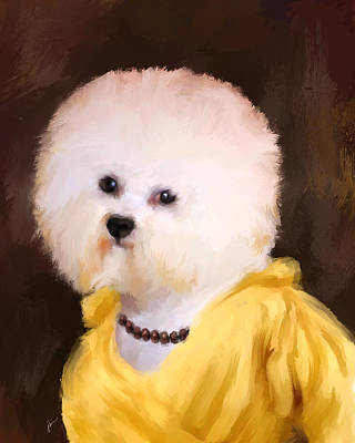 Dog Jewelry Painting - Chic Bichon Frise by Jai Johnson