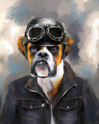 Chic Boxer Aviator Art Print