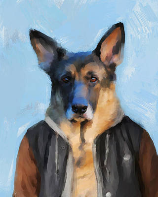 Painting - Chic German Shepherd by Jai Johnson