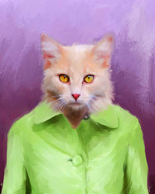 Funny Cat Painting - Chic Orange Kitty Cat by Jai Johnson