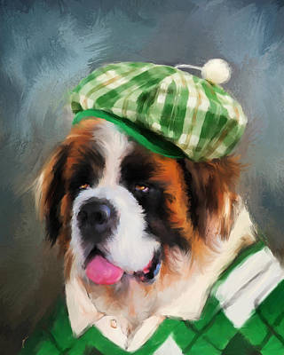 Painting - Chic Saint Bernard Golfer by Jai Johnson