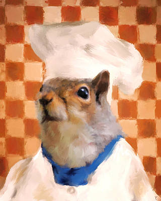 Chic Squirrel Chef Art Print by Jai Johnson