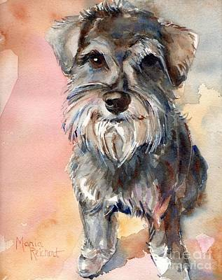 Miniature Schnauzer Painting - Chica by Maria's Watercolor