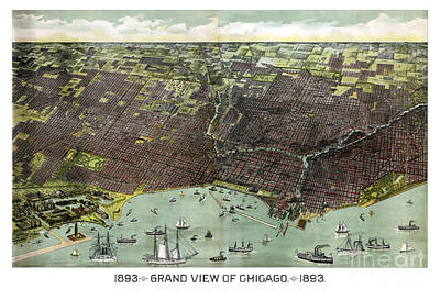 Old Map Painting - Chicago - Illinois - 1893 by Pablo Romero