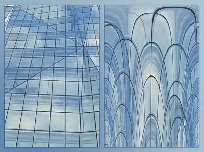Digital Art - Chicago Abstract Before And After Blue Glass 2 Panel by Thomas Woolworth