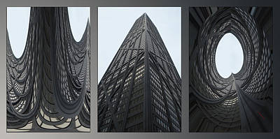 Digital Art - Chicago Abstract Before And After John Hancock Sw Facades Triptych 3 Panel by Thomas Woolworth