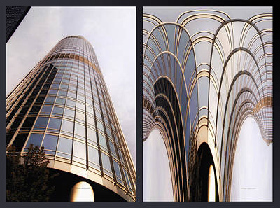 Digital Art - Chicago Abstract Before And After Sunrays On Trump Tower 2 Panel by Thomas Woolworth