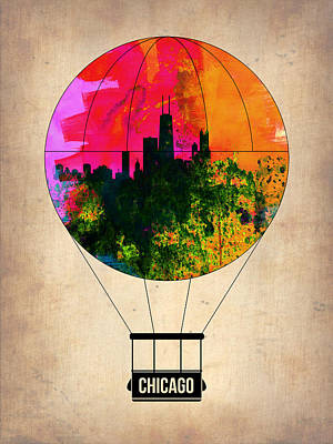 Chicago Skyline Digital Art - Chicago Air Balloon by Naxart Studio
