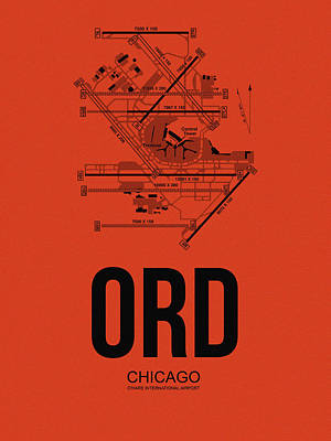 University Of Illinois Digital Art - Chicago Airport Poster 1 by Naxart Studio