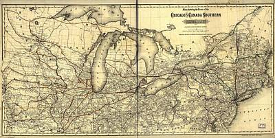 Rutland Photograph - Chicago And Canada Southern Railway Route Map  by Georgia Fowler
