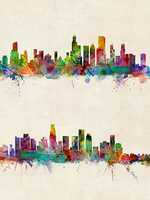 University Of Illinois Digital Art - Chicago And Los Angeles Skylines by Michael Tompsett