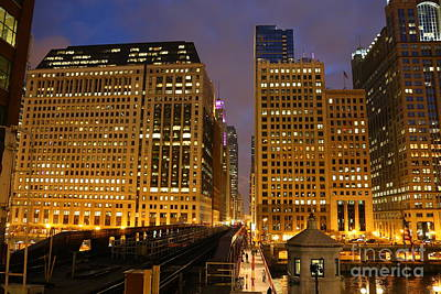 Impressionist Landscapes - Chicago architecture at night by Michael Paskvan