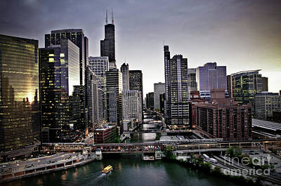 Chicago At Dusk Art Print
